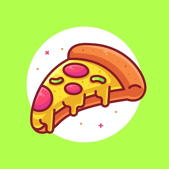 Delicious pizza logo cartoon vector icon illustrationpremium fast food logo in flat style