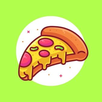Вкусная пицца логотип мультяшный вектор значок иллюстрации премиум фаст-фуд логотип в плоском стиле