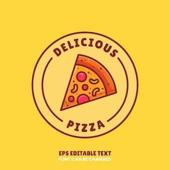 レストランやカフェのフラットスタイルのおいしいピザロゴベクトルプレミアムファーストフードのロゴ