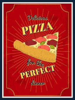 Delicious pizza for the perfect dinner, poster ready to print