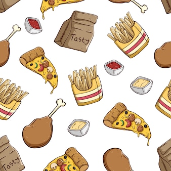 Delicious pizza slice french fries and chicken leg in seamless pattern