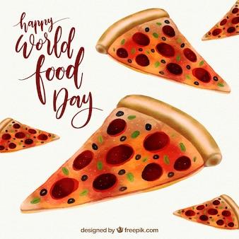 Вкусные кусочки пиццы в день еды в мире