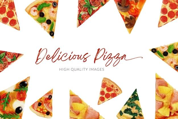 맛있는 피자 수채화