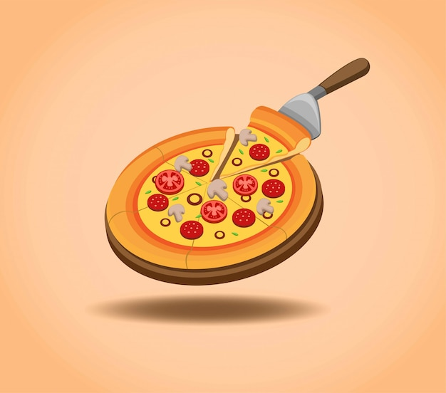 Delicious pizza in wooden table pan ready to eat, pizza menu promotion in cartoon illustration  in gradient background