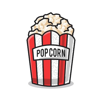 Delicious pop corn in the food container in cute line art illustration