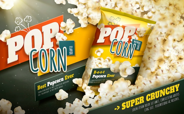 美味しいポップコーン広告、ホイルパッケージ付きの散乱ポップコーン