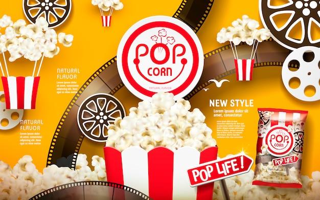맛있는 팝콘 광고, 필름 및 릴 요소가 포함 된 흰색 및 빨간색 줄무늬 패키지