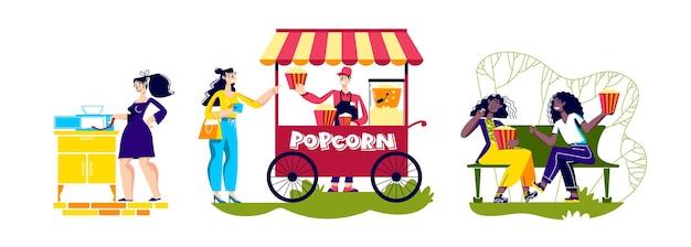おいしいポップコーン。レトロなストリートキオスクでポップコーンを食べたり、料理したり、買ったりする人々。おいしいおやつを準備して楽しんでいる漫画のキャラクター。白い背景の上のベクトル図