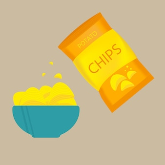 Delicious potato chips in bowl, beer snack for friends made in flat style.  vector illustration for banners, posters, advertisement, packaging design.