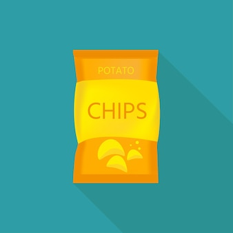 Delicious potato chips with pack, beer snack for friends made in flat style.  vector illustration for banners, posters, advertisement, packaging design.