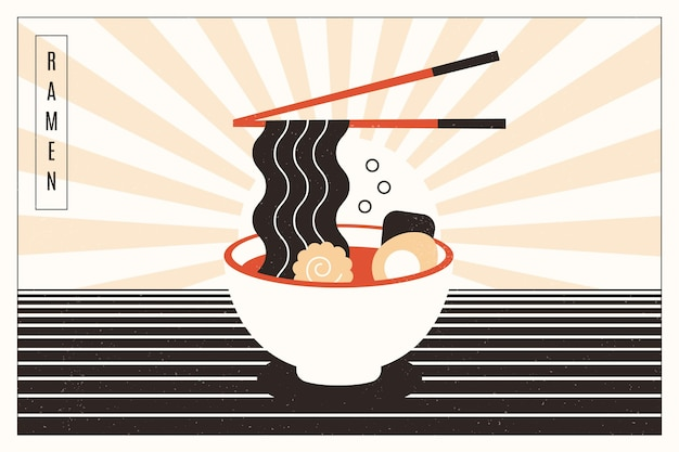 Delicious ramen soup in a bowl background