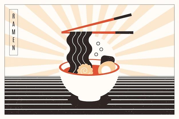 Вкусный суп рамэн на фоне миски