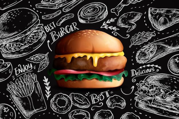 黒板の背景においしいリアルなハンバーガー