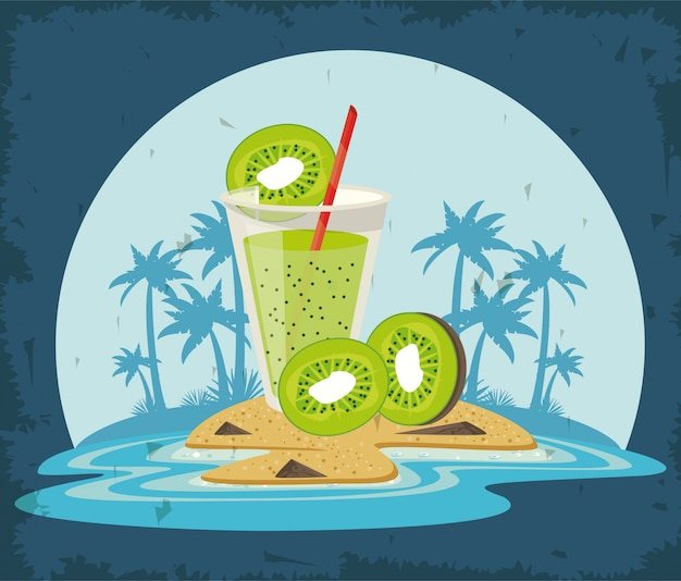 Delicious and refreshment drink on beach