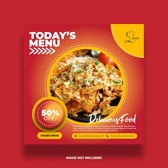 Delicious restaurant healthy food social media today's menu abstract post template