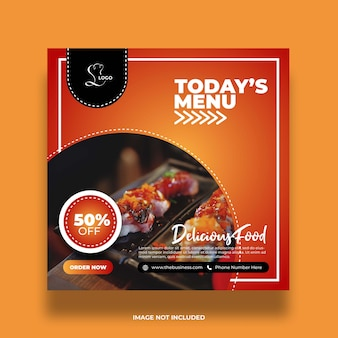 Delicious restaurant healthy today's menu food social media abstract post template