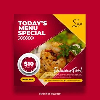 Delicious restaurant menu special  food social media post template