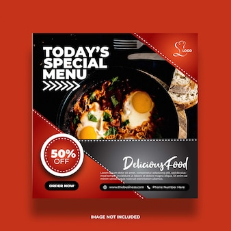 Delicious restaurant special menu healthy food social media abstract post template