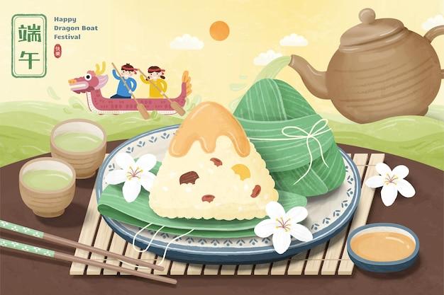 맛있는 쌀 만두와 테이블에 뜨거운 차