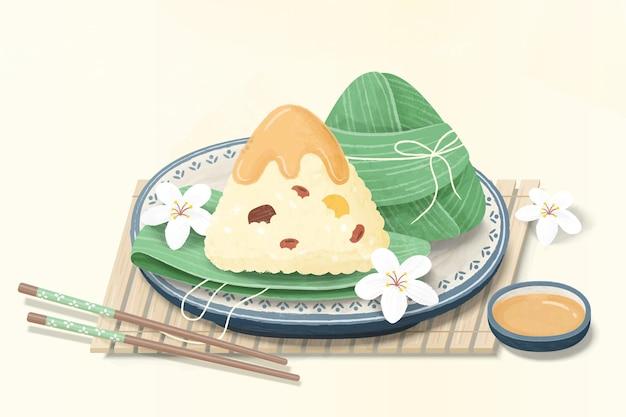맛있는 쌀 만두와 젓가락 소스