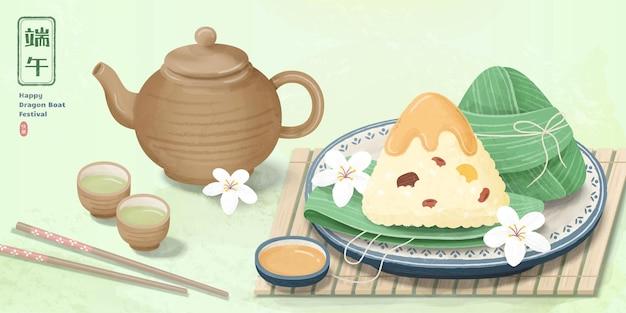Delicious rice dumplings and hot tea set