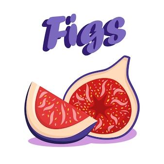 Delicious ripe figs cartoon social media banner