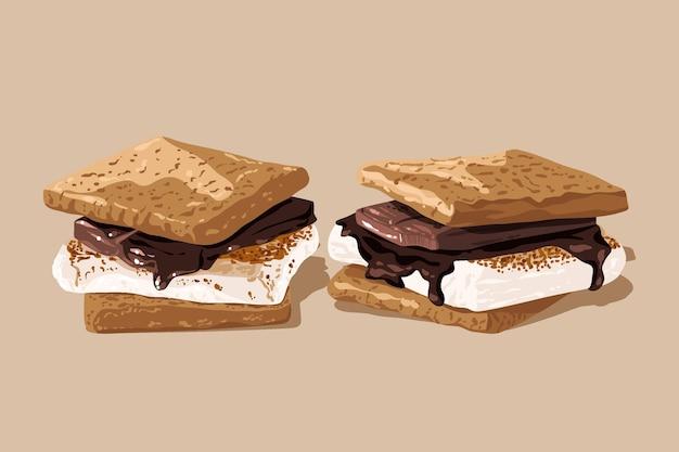 Delicious s'mores dessert illustrated