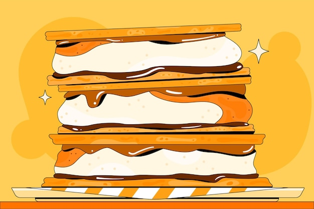 Вкусный десерт s'mores иллюстрация