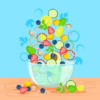 Вкусный салат и ваза с фруктами