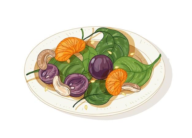 흰색 배경에 고립 접시에 맛있는 샐러드. 과일, 견과류 및 시금치 잎으로 만든 맛있는 레스토랑 채식 스타터 식사.