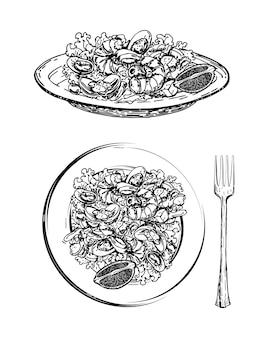 접시에 해산물과 야채를 곁들인 맛있는 샐러드 손으로 그린 스케치 새우를 곁들인 시저 샐러드 프리미엄 벡터