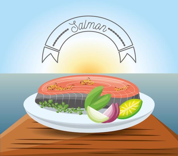 Delicious salmon dish menu restaurant