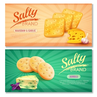 Delicious salty snacks banners