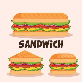 Delicious sandwich fast food set icons