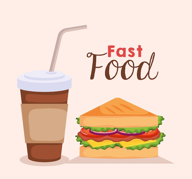 Delicious sandwich with coffee fast food