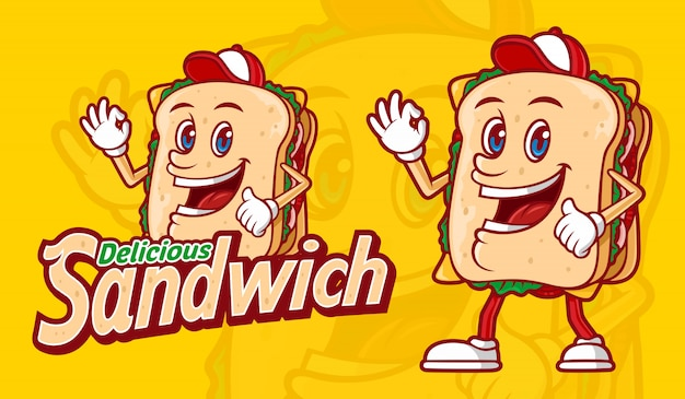 Delicious sandwich with funny cartoon character and combined typography
