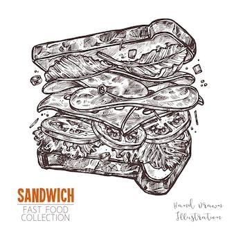 具材たっぷりの美味しいサンドイッチ。刻印インクラインスタイルのファーストフード料理。手描きのビンテージスケッチ。