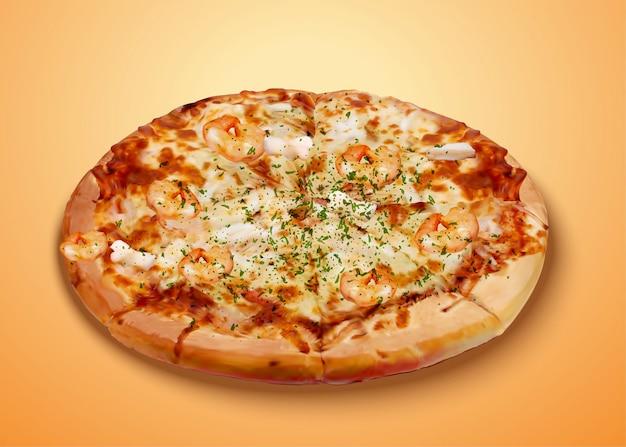 Вкусная пицца из морепродуктов с сыром и богатыми ингредиентами в 3d иллюстрации