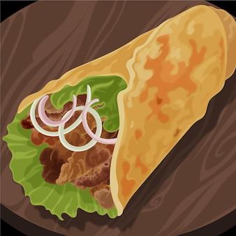 세부 사항과 함께 맛있는 shawarma 그림