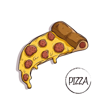 Delicious slice pizza with pepperoni using colored hand drawn or doodle style