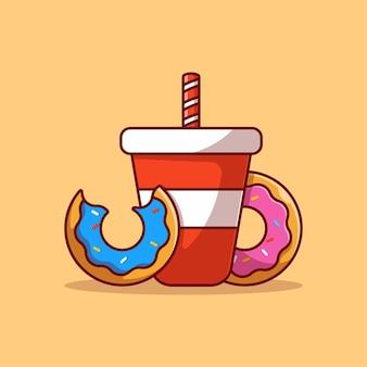Вкусная сода и пончик векторные иллюстрации дизайн