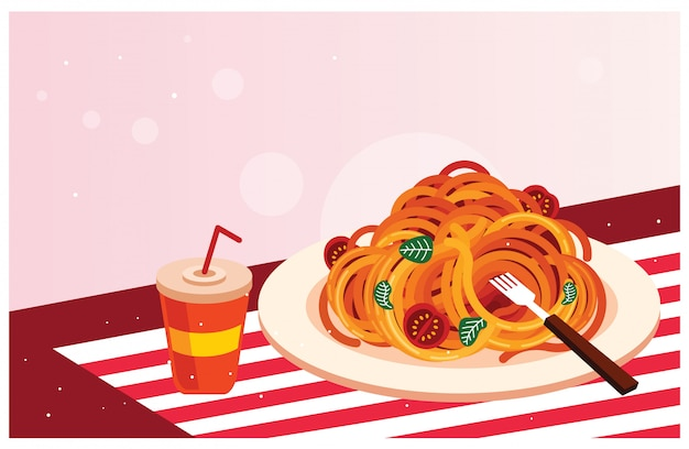 Delicious spaghetti with drink vector illustration