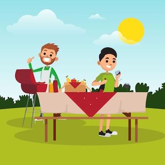 グリル、オープンエア、休憩、週末の美味しいステーキ。