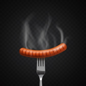 Delicious steaming sausage on a fork on dark