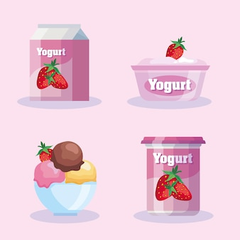 Delicious strawberry diary products set