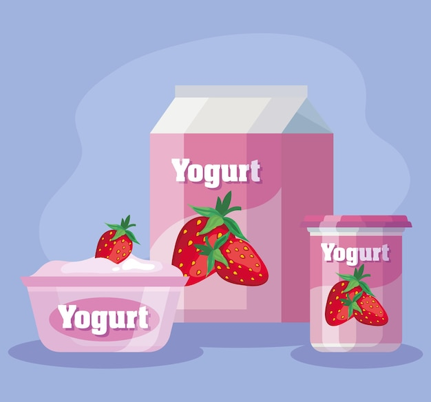 Delicious strawberry products set