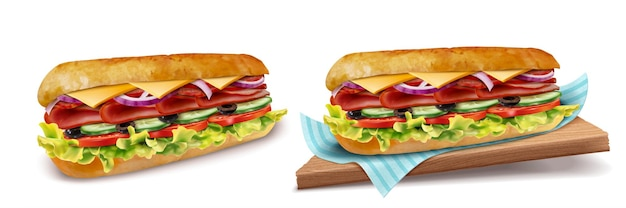 Delicious submarine vegetables on white background in 3d illustration