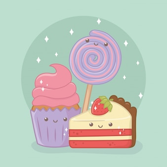 Delicious and sweet cupcake and products kawaii characters