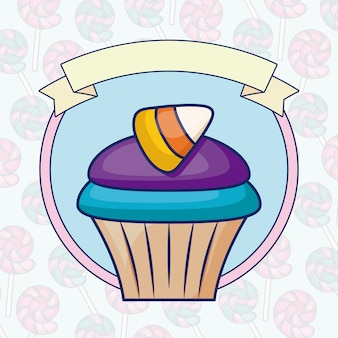 Delicious sweet cupcake with ribbon