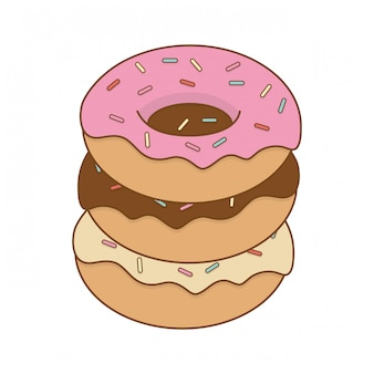 Delicious sweet donuts pastry product